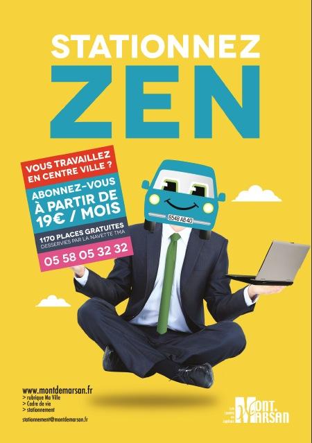 image : Affiche stationnez zen travailleurs centre ville