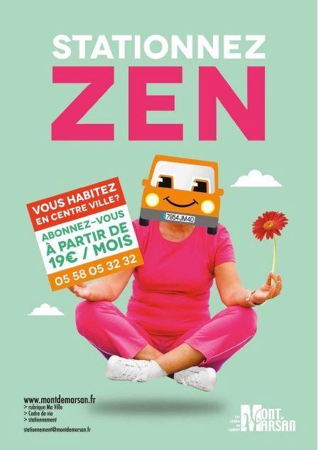 image : Affiche stationnez zen résidents centre ville