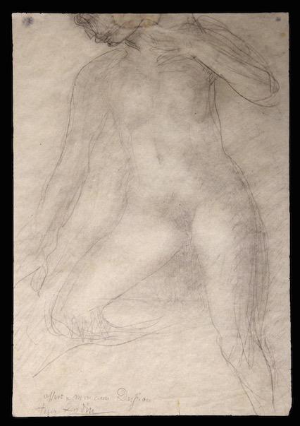 image : dessin Auguste Rodin, Nu, mine de plomb sur papier