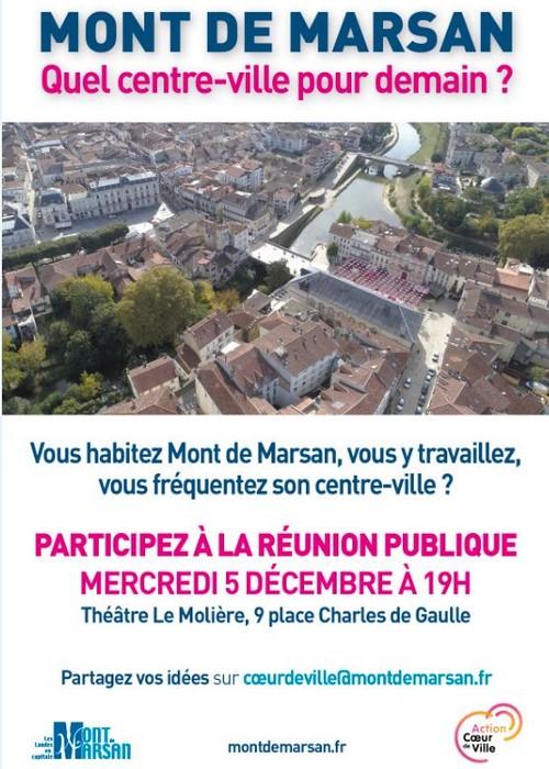 image : Affiche Réunion Publque Cœur de Ville 5 déc 2018 - Mont de Marsan Agglo